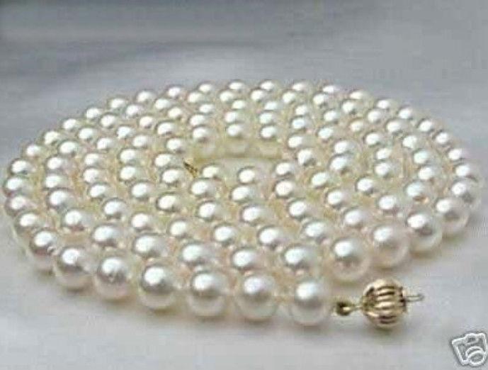 LIVRAISON GRATUITE 8-9 MM plus noble Blanc perle akoya collier 32