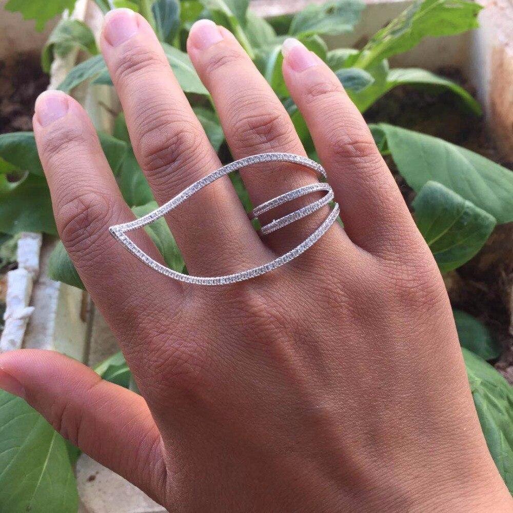 AAA cz pflastern einstellung neue trieben design blatt geformte hohl große ringe für frauen finger zubehör modeschmuck