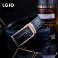 20161214   Automatic ratchet CROC buckle brand New genuine leather Waist belts  blue cowhide leather belt