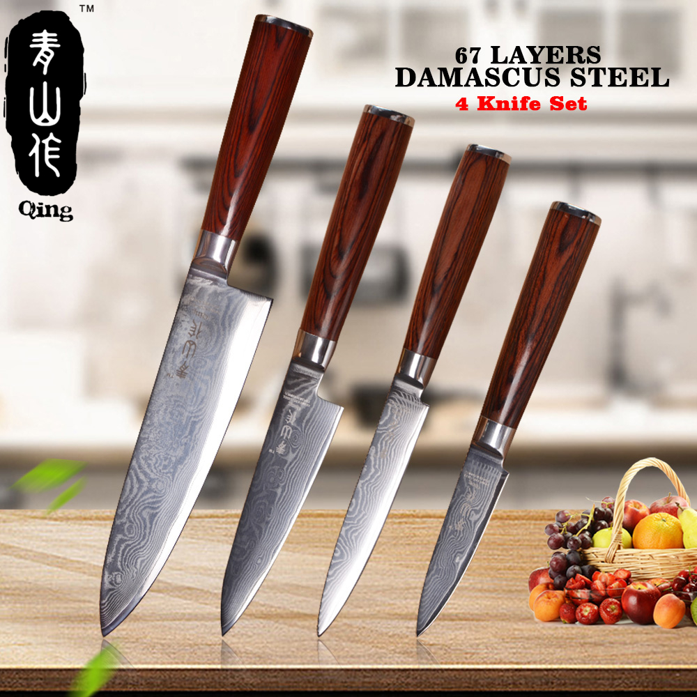 QING 6 5 5 3.5 Damascus Kitchen Knives Japanese VG10 Damascus Steel Knife High Toughness Cooking Tools Color Wood HandleQING 6 5 5 3.5 Damascus Kitchen Knives Japanese VG10 Damascus Steel Knife High Toughness Cooking Tools Color Wood Handle