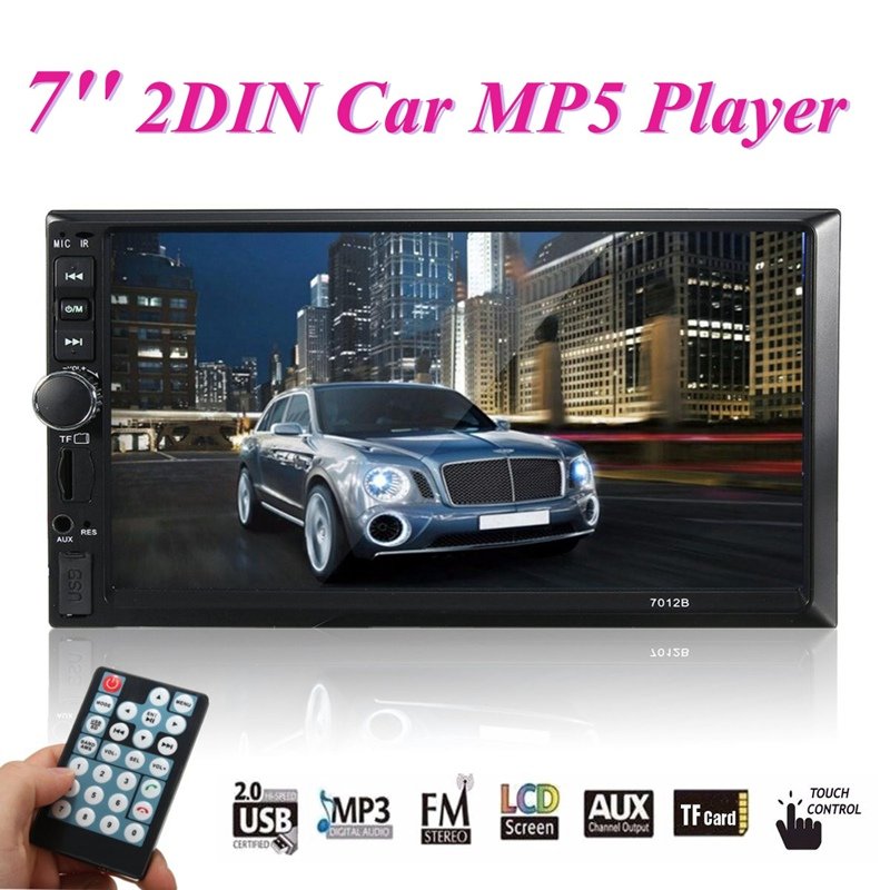2 Din Car Video Player DVD 7 Inch TFT Touch Screen Bluetooth Radio Audio Stereo MP4/MP5 Player Support AUX/FM/USB Remote Control 2015 new support rear camera car stereo mp3 mp4 player 12v car audio video mp5 bluetooth hands free usb tft mmc remote control