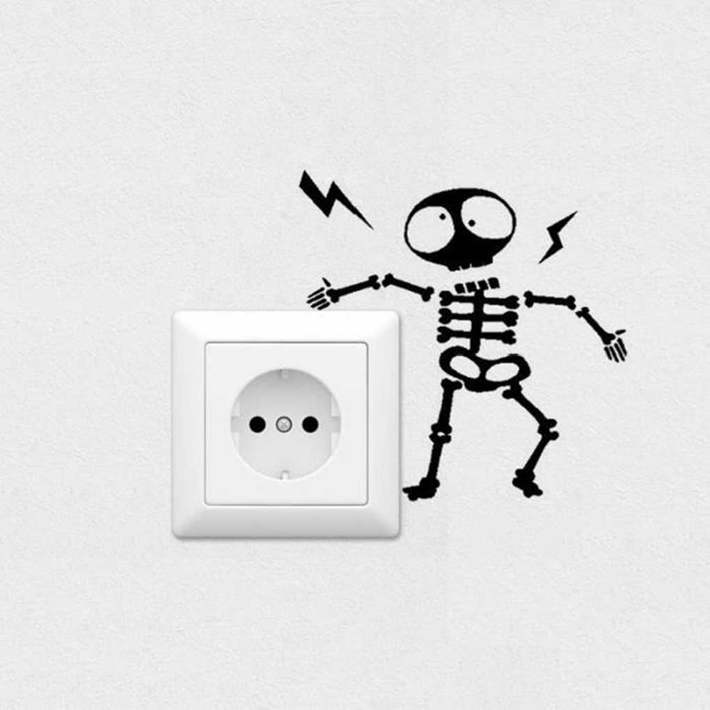 Wall Switch Sticker Home Decoration Individuality Skeleton Wall Sticker Decal Home Decor Decal Socket Paste 16 * 16cm