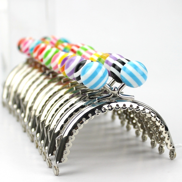 07abac54191d2 US $19.84 20% OFF 14 pcs /lotT 8.5cm stripe lollipop bead Metal Purse Frame  semicircle bright and clean Silver lace Coin Purse clasp diy bag acces-in  ...