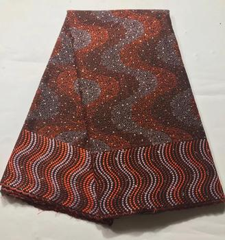 African Latest Lace Fabric Brown Nigeria Lace Fabric Embroidery Beaded Lace African Bridal Fabric 5 Yards for Wedding Party(7-19