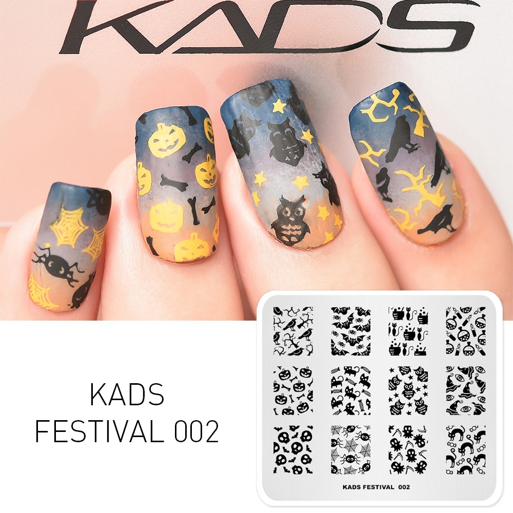 KADS Festival 002 Halloween Nail Art Stamping Stamp Cat & Spider & Pumpkin Template Image Stamp For Nails
