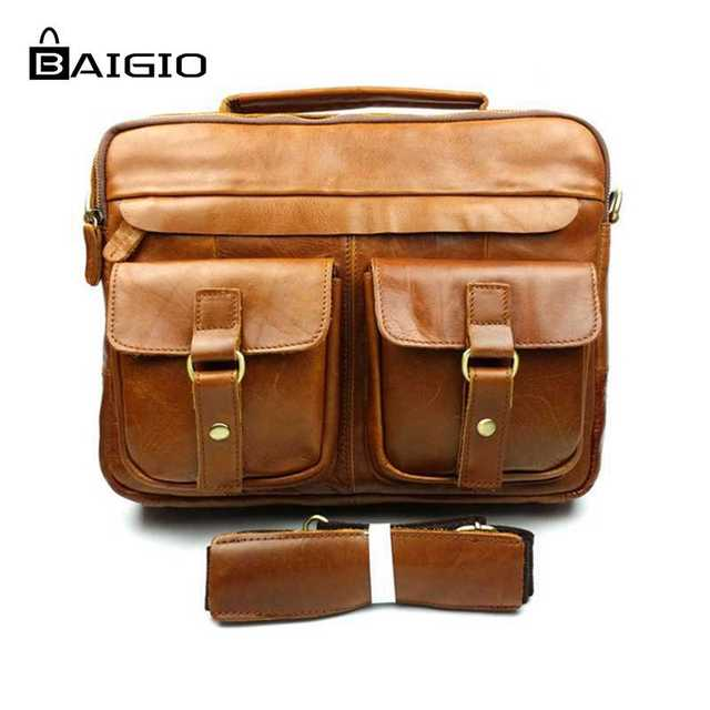 219c9a80ebe8 Baigio Men Genuine Leather Bags Bolsas Best Brand Designer Crossbody Satchel  Handbags Vintage Brown Mens Messenger Shoulder Bag