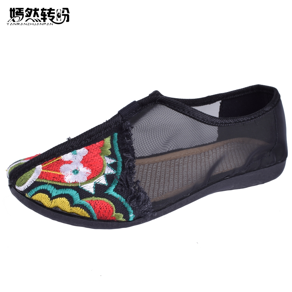 Chinese Women Embroidery Flats Spring Summer Embroidered Shoes Gauze Floral Casual Canvas Dance Shoes Soft Bottom Big Size 41 game of thrones casual shoes women house stark winter is coming printed summer style superstar graffiti canvas shoes big size