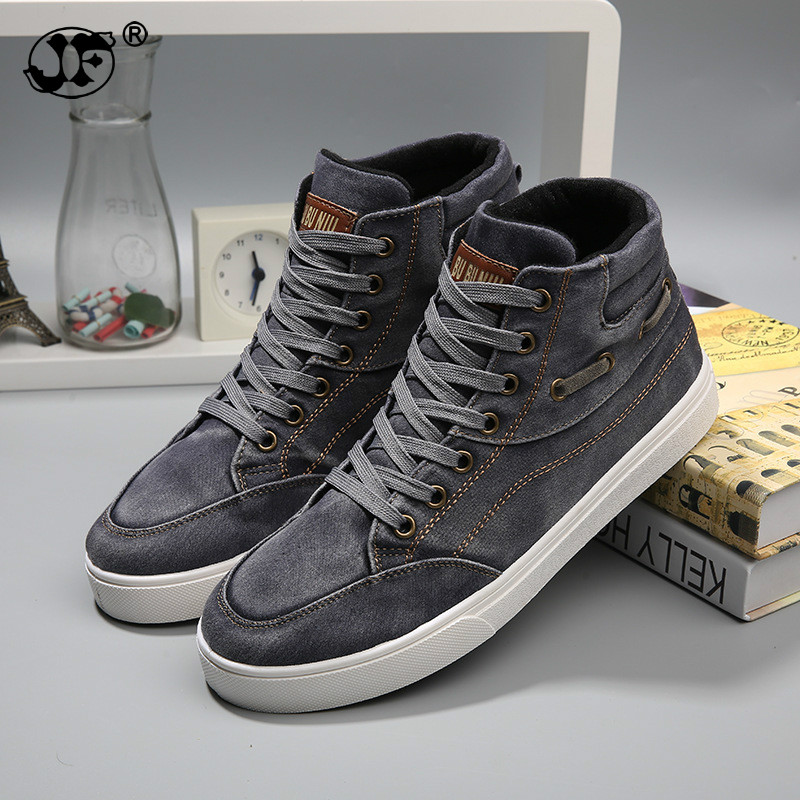 New Arrive Men Causal Shoes Autumn Winter Front Lace-Up Leather Ankle Boots Shoes Man Casual High Top Canvas Men 884