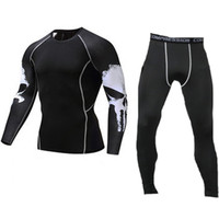 Gyms Fitness Sets Top Pants Joggers Clothing Suits Punisher 3D Compression Leggings Long Sleeve Sweat Pant