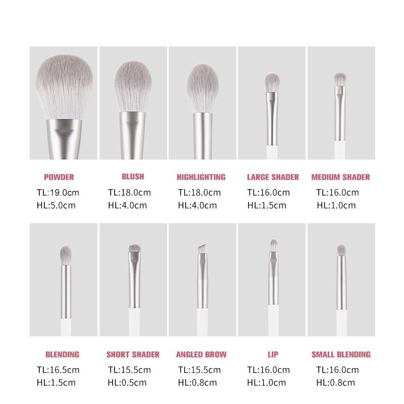 Image 4 - Zoreya Brand Soft Synthetic Hair Eye Shadow Brush White Handle Blending Blush Lip Powder Highlighter Makeup Brushes Set 10pcsEye Shadow Applicator   -