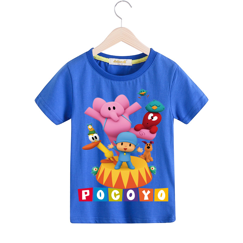 Children Short Sleeve T-shirt For Boy Summer White Clothes Girls Blue T Shirt Clothing Baby Lovely Pocoyo Print Costume TX079 cotton bull and letters print round neck short sleeve t shirt