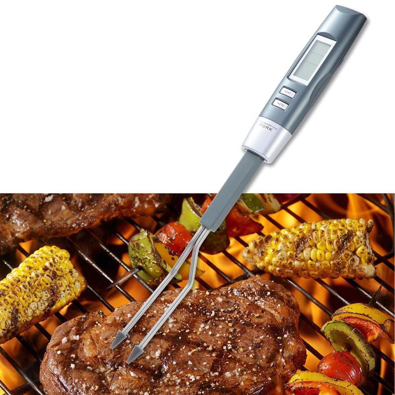 Logisch Digitale Voedsel Thermometer Porbe Vork Met Back-lit Led Display Elektronische Barbecue Temperatuur Tester Voor Grillen Koken