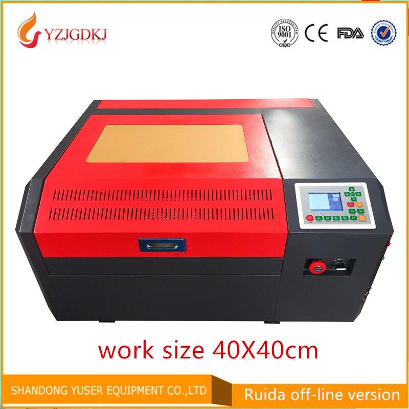 Co2 macchina per incisione laser, 40*40 cm dimensione di lavoro, il trasporto libero, diy50w macchina di taglio laser, piccola incisione laser macchina,