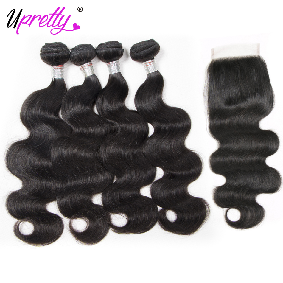 Upretty Hair Brazilian Hair Body Wave 4 Bundles with Closure Remy Human Hair Extensions Brazilian Body Wave and Lace Closure