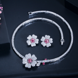 Image 5 - CWWZircons CZ Crystal Red Rose Flower Women Choker Necklace and Earrings Bridal Jewelry Set for Wedding Dress Accessories T211