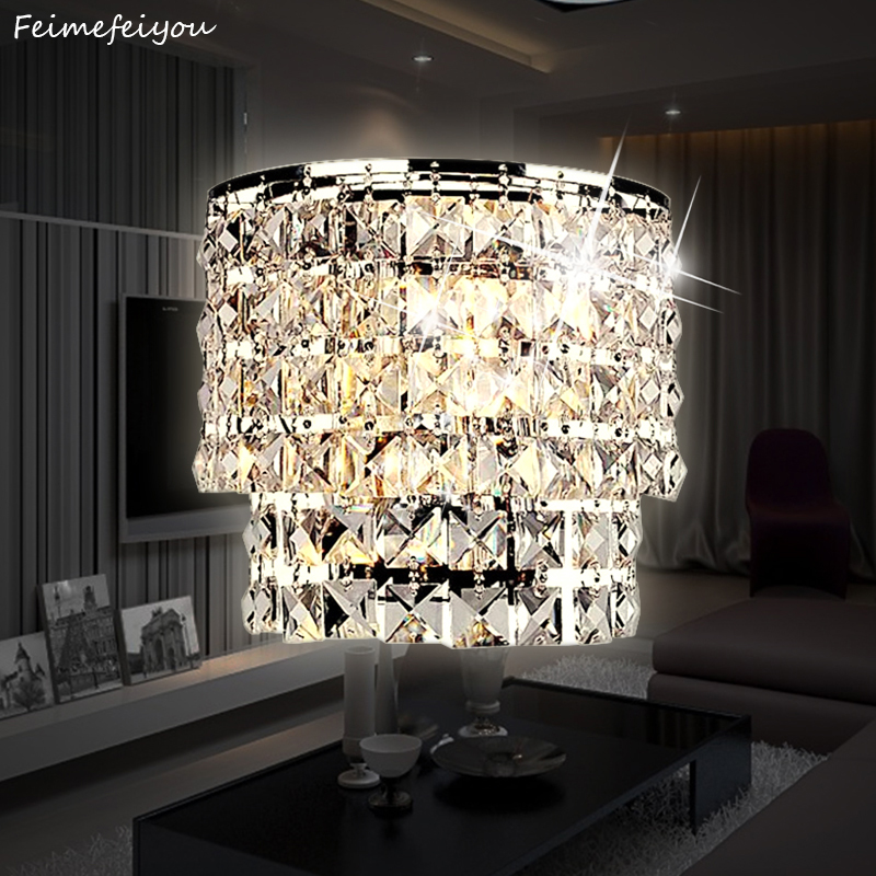 Classic crystal chandelier wall light gold crystalline wall sconce lamp LED  living room bedside glass crystal wall lamp