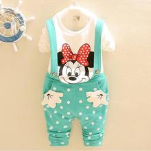 2016 New baby girl Minnie clothing sets cotton shirt boy Mickey Spring leisure suit jacket Children complete harness