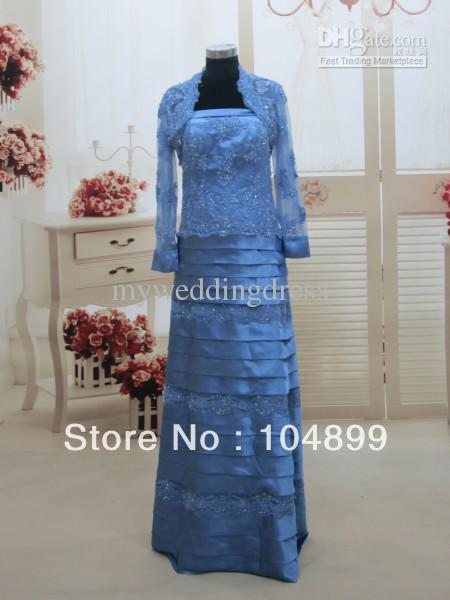 Wholesale - Sexy Two Piece Beaded Applique Strapless Floor Length Mother Of The Bride Dresses 3373