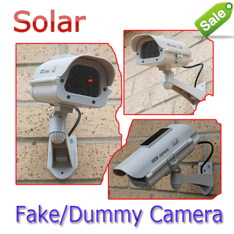 Solar Powered AA Battery CCTV Dummy Camera Fake Security Cam Flashing LED Surveillance For Imitation Pirates Wholesale Dropping 100w folding solar panel solar battery charger for car boat caravan golf cart