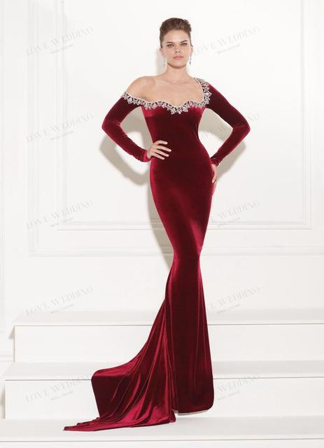 972f623cb Red velvet long sleeve fish toast dress suit-in Bridesmaid Dresses ...