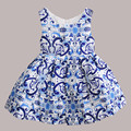2016 new girls summer dress Sleeveless princess dress Printing Children's Clothing for party big virgin tutu kids dresses 3t-12t