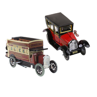 Clockwork Wind Up Toys Children Running Iron Taxi+Double decker Omnibus Toy