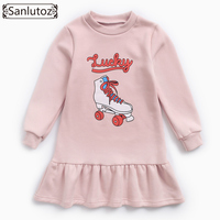 Sanlutoz Winter Girl Dress Costume Kids Dress For Girls Sports Kids Clothing Fashion Brand Cotton Warm