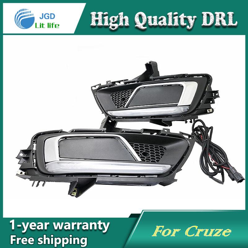 Free shipping !12V 6000k LED DRL Daytime running light case for Chevrolet Cruze 2015 fog lamp frame Fog light Car styling