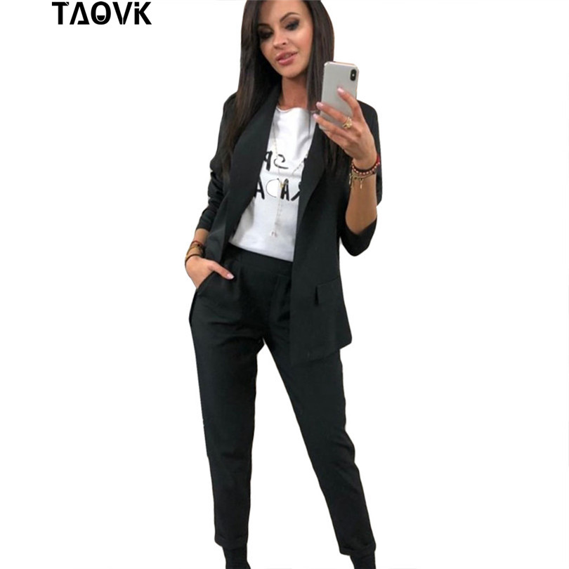 TAOVK Work Pant Suits OL 2 Piece Sets Turn-down Collar Blazer Jacket & Trouser Suit For Women Feminino Spring Autumn Workwear