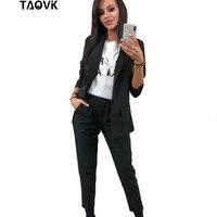 TAOVK Work Pant Suits OL 2 Piece Sets Turn down Collar Blazer Jacket & Trouser Suit for Women Feminino Spring Autumn Workwear