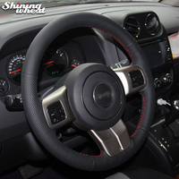 Shining wheat Black Leather Car Steering Wheel Cover for Jeep Grand Cherokee 2011 13 Compass Wrangler Patriot 2011 2016