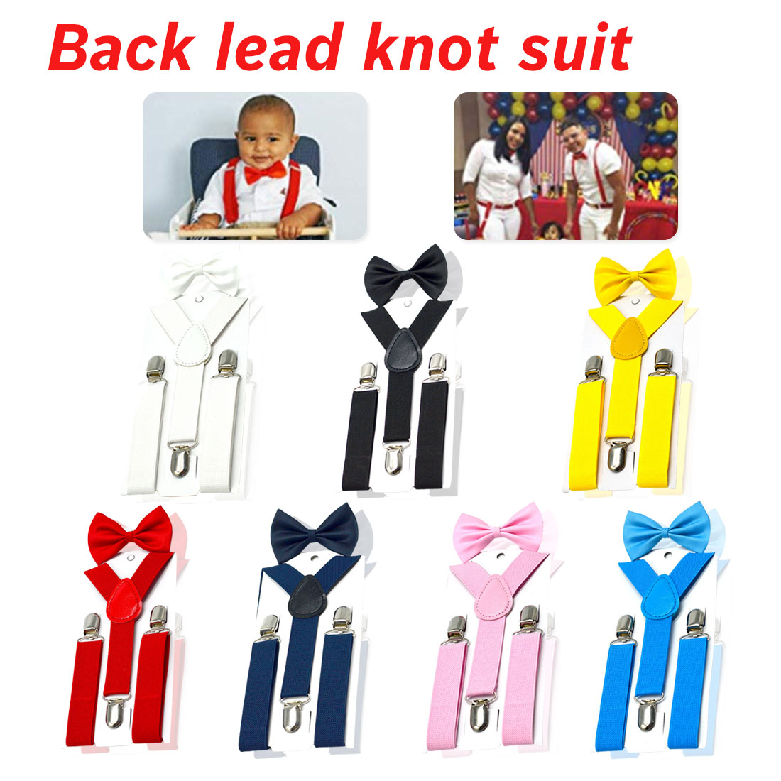 Parent-Child Soild Colorful Suspenders Bowtie Set Nice Polyester Charming Y-Back Braces Kids Butterfly Belt Bow Tie Adjustable