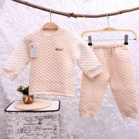 Winter High Quality Natural Colored Cotton Baby Thermal Underwear Suits Infant Girl Boy Long Sleeve Jacquard