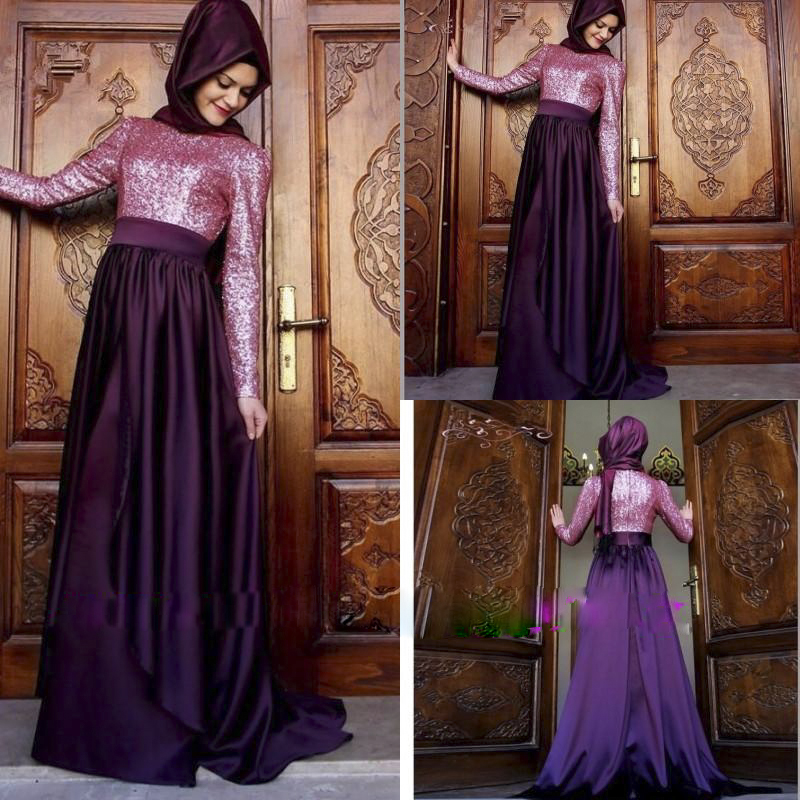 Buy fashion muslim purple long bridesmaid for Long sleeve dresses for wedding party