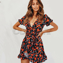 Cuerly Sexy floral print ruffle dress women Summer elegant party wrap short dress female Casual beach daily dress vestidos  L5 ruffle sleeve floral wrap dress