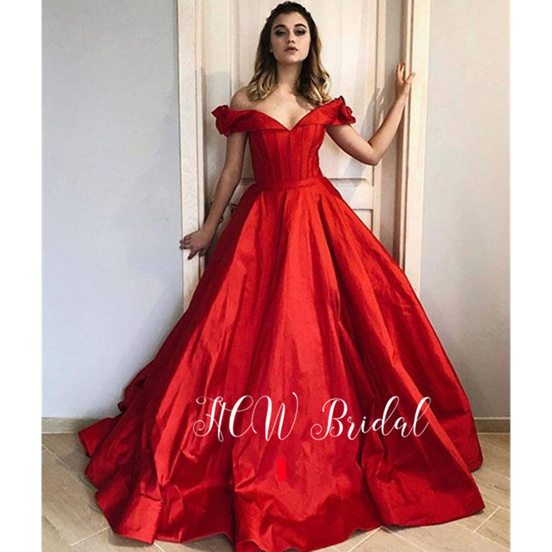 Gorgeous Long Red Arabic   Evening     Dress   Off The Shoulder Ball Gown Formal Occasion   Dresses   2019 Custom Made Women Party Gowns