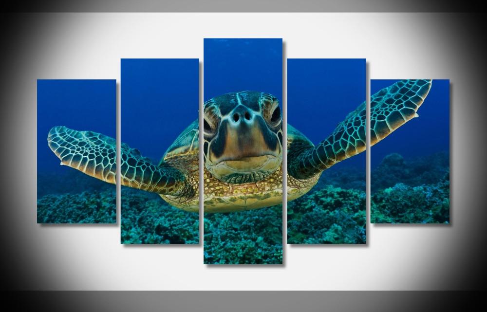 Tartaruga Di Mare Fondali Marini Cercando Marine 5 Pzset Tela Arte