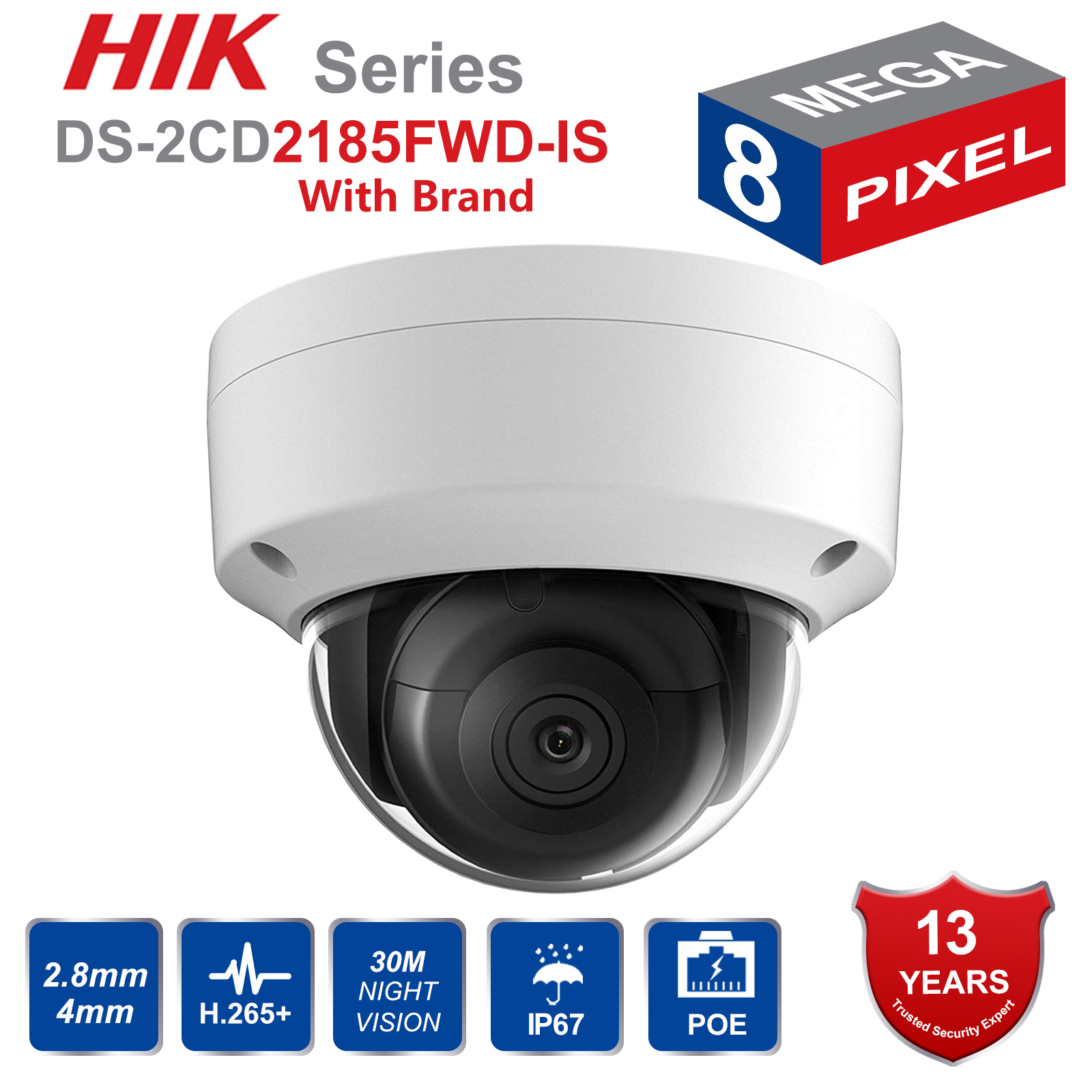 Hik DS 2CD2185FWD IS 8MP Outdoor Dome ip Camera H 265 Updatable CCTV Camera With Audio