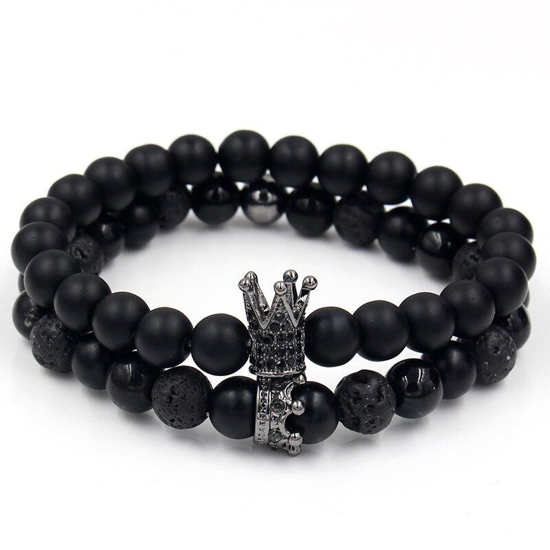 Bracelets assortis couple Roi et Reine couronne Black