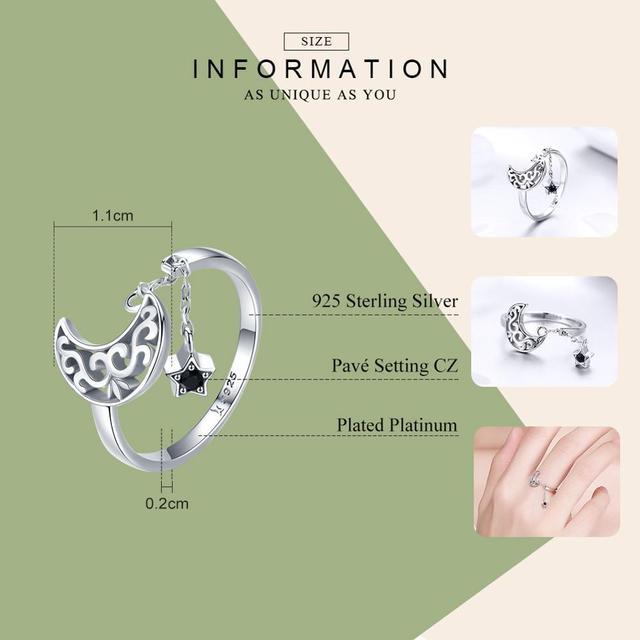 BISAER auténtica Plata de Ley 925 Luna y estrellas anillos de dedo ajustables CZ joyería que hace regalos de San Valentín para las mujeres GXR479