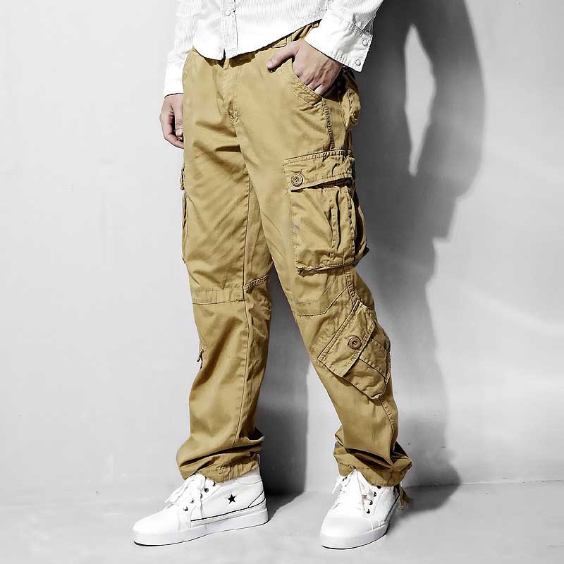 Men and Women Cargo Pants 8 Pocket Cotton Hip Hop Trousers Loose Baggy Military Army Tactical