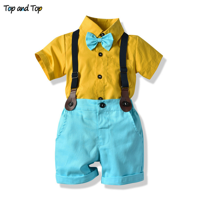 Top And Top Fashion Baby Boys Kids Gentleman Outfits Short Sleeve Bow Tie Shirt+Suspender Short Pants Children Boys Clothes Sets