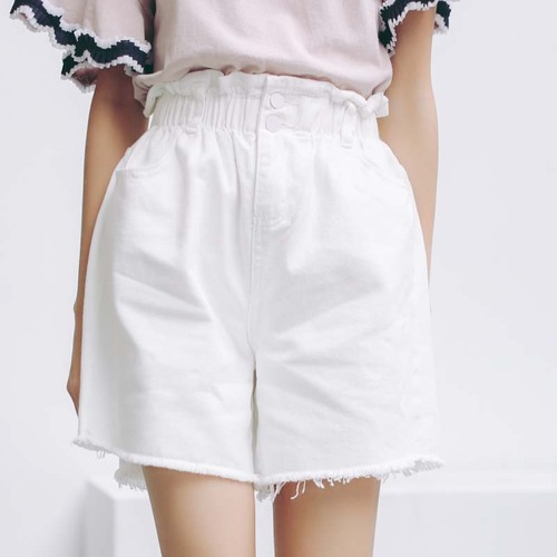 White Jeans Shorts Women 2017 Summer Korean Vintage Casual Ripped Tassel Wide Leg High Waist Denim Shorts Blue jeans femme B144
