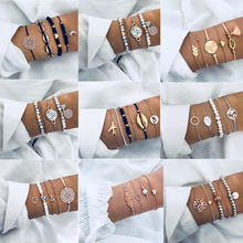 Mix Style Bohemian Rope Chain Bracelets Sets For Women Men Hot Vintage Fashion Map Tassel Charm Bracelets Jewelry Gifts cheap ZOSHI Strand Bracelets Zinc Alloy COTTON ROUND Tension Mount Lace-up