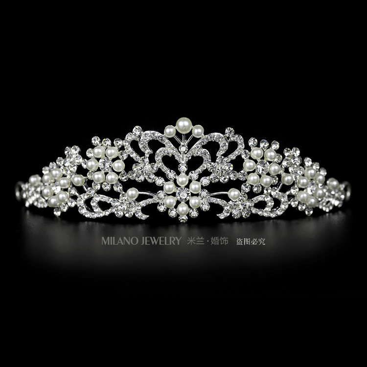 Milan wedding bridal crown headdress decorated with yarn art wedding photography pearl rhinestone tiara hair accessories upscale