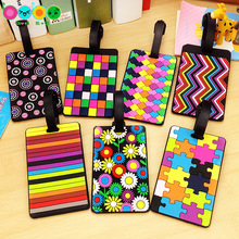 2017 Creative national style Multi-color Geometric cartoon Luggage card Silicone name hang tag Hangtag for luggage/Suitcase