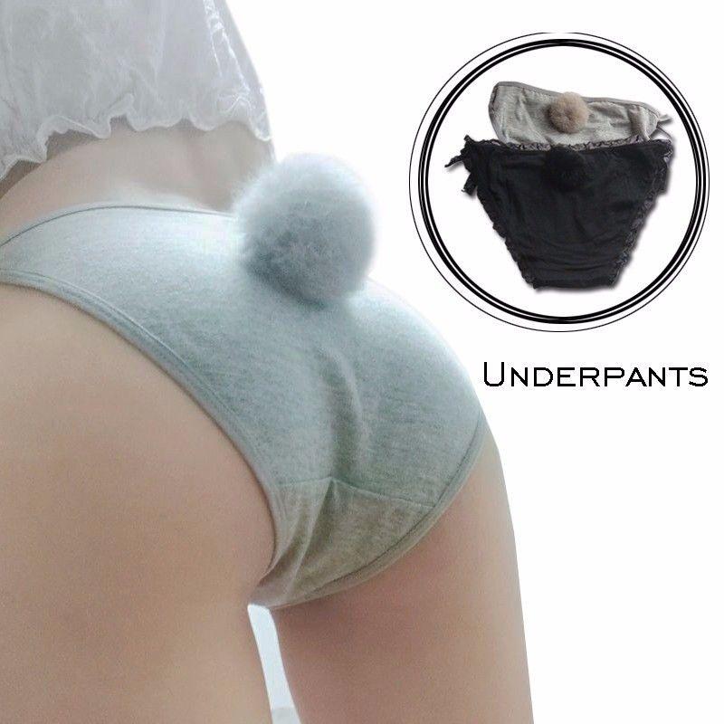 Women Sexy Side Tie Close Panties Cute Rabbit Tail Cotton Briefs Underwear