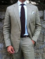 2017 أحدث معطف بانت تصاميم رمادي الكتان الرجال بدلة رسمية ضئيلة تناسب السترة الصيف بيتش سهرة مخصص 2 قطعة سترة masculino df