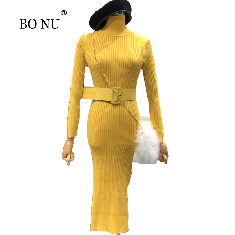 BONU Long Mid-Calf Kniited Sweater Dresses Women Slim Elegant Sashes Knitted Dress Elegant Elasticity Loosen Dresses Women