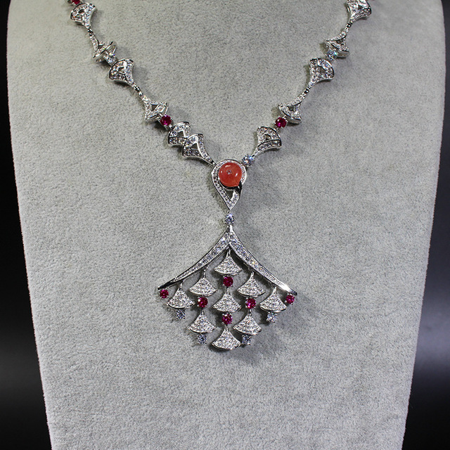 7ee753155a Luxury brand party jewelry AAA Cubic Zirconia Diva Dream Fan necklace  muticolor pink stone statement Exaggerated